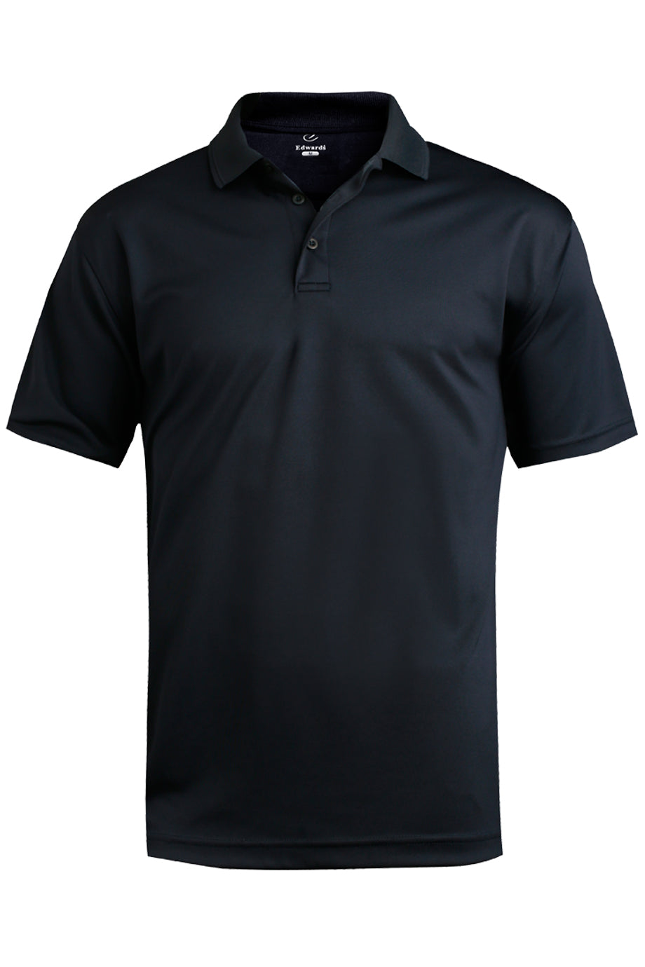 Navy Edwards Mens Performance Flat-Knit Short Sleeve Polo