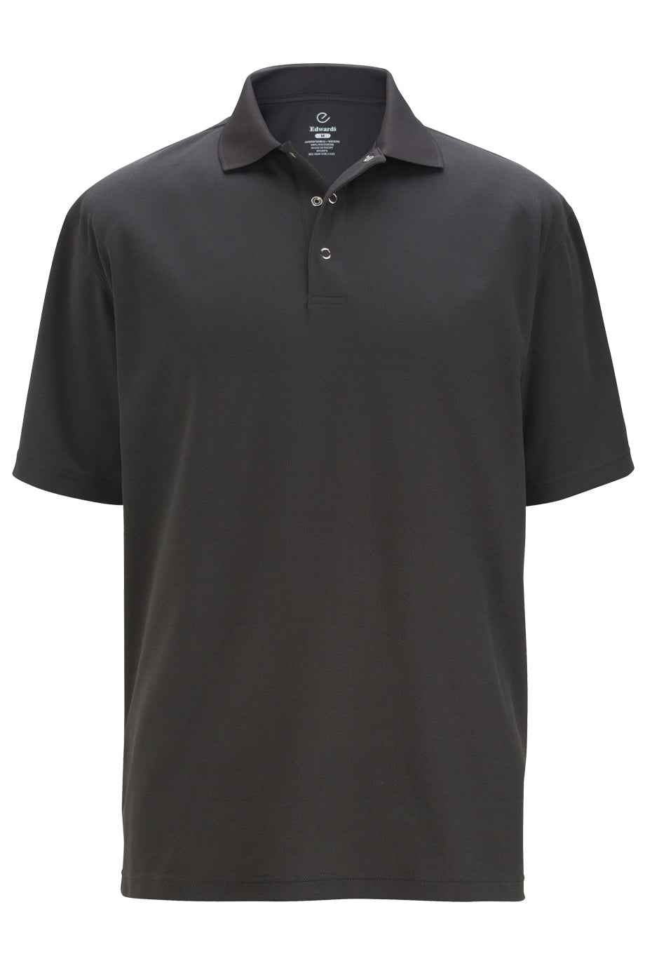 Steel Grey Edwards Mens Snap Front Hi-Performance Short Sleeve Polo