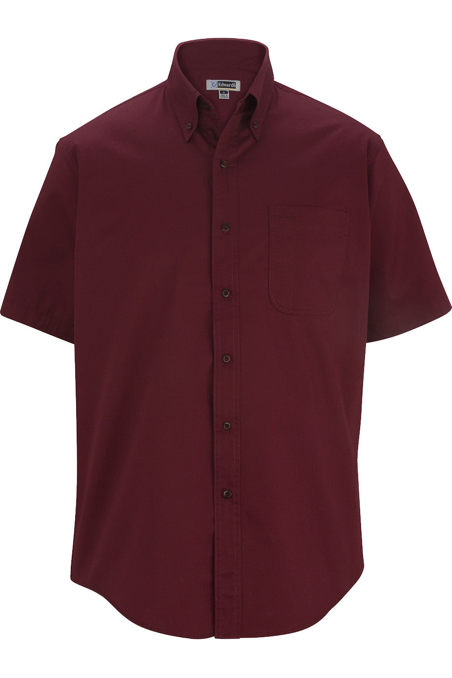 Burgundy Edwards Mens Cottonplus Short Sleeve Twill Shirt