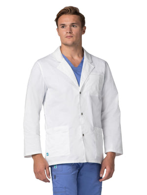 "ADAR Pop-Stretch Mens 31"" Snap Front Lab Coat"