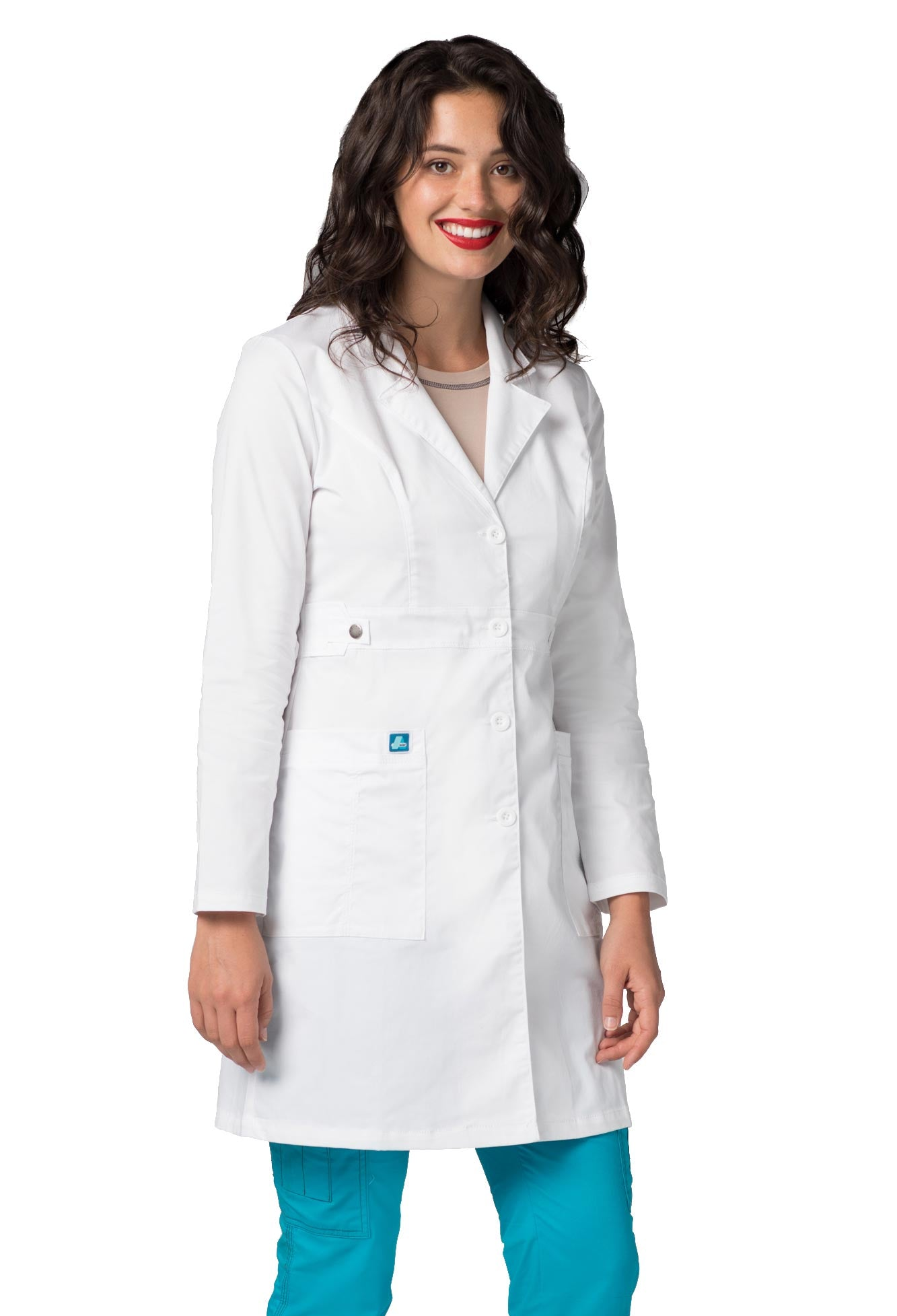 "Adar Pop-Stretch Junior Fit Women's 36"" Tab-Waist Lab Coat"