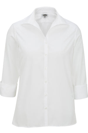 Edwards Ladies Lightweight Open Neck Poplin Blouse - 3/4 Sleeve