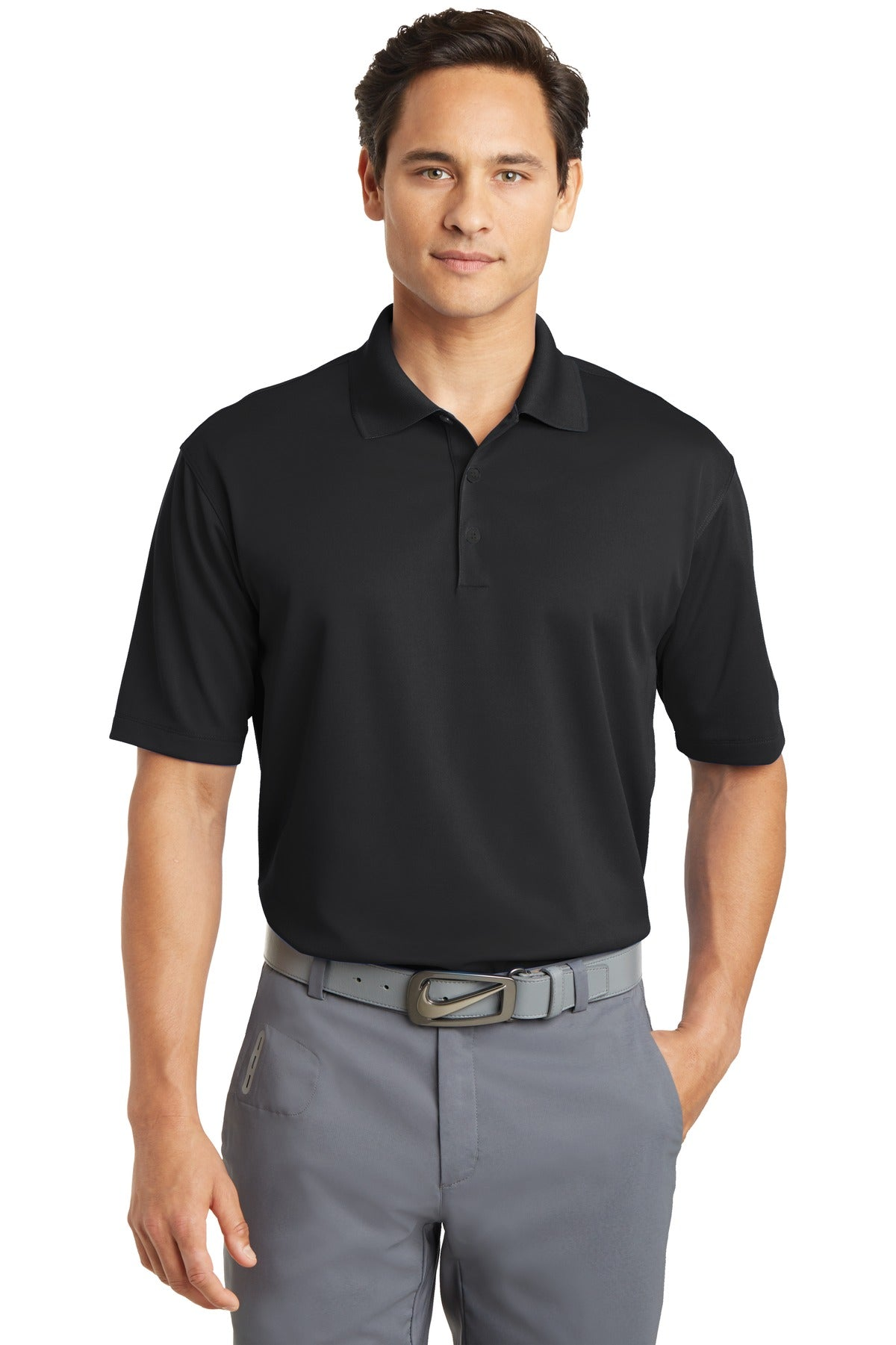 Black Nike Tall Dri-FIT Micro Pique Polo.