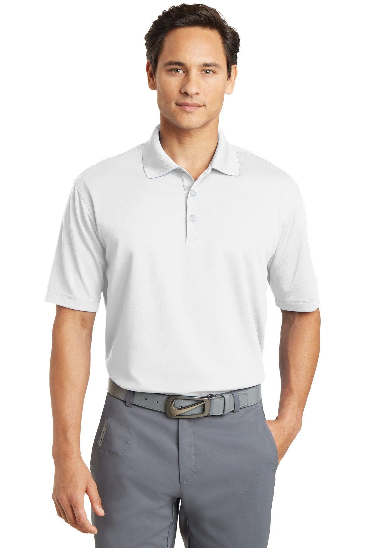 White Nike Tall Dri-FIT Micro Pique Polo.