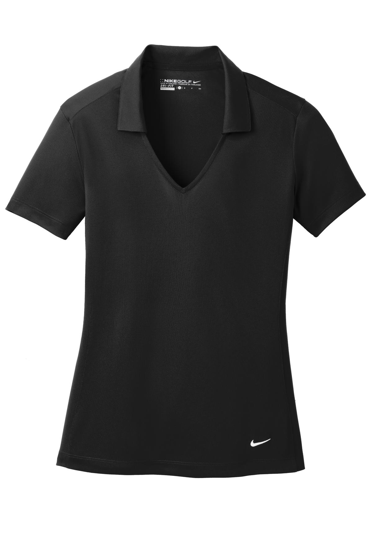 Black Nike Ladies Dri-FIT Vertical Mesh Polo.
