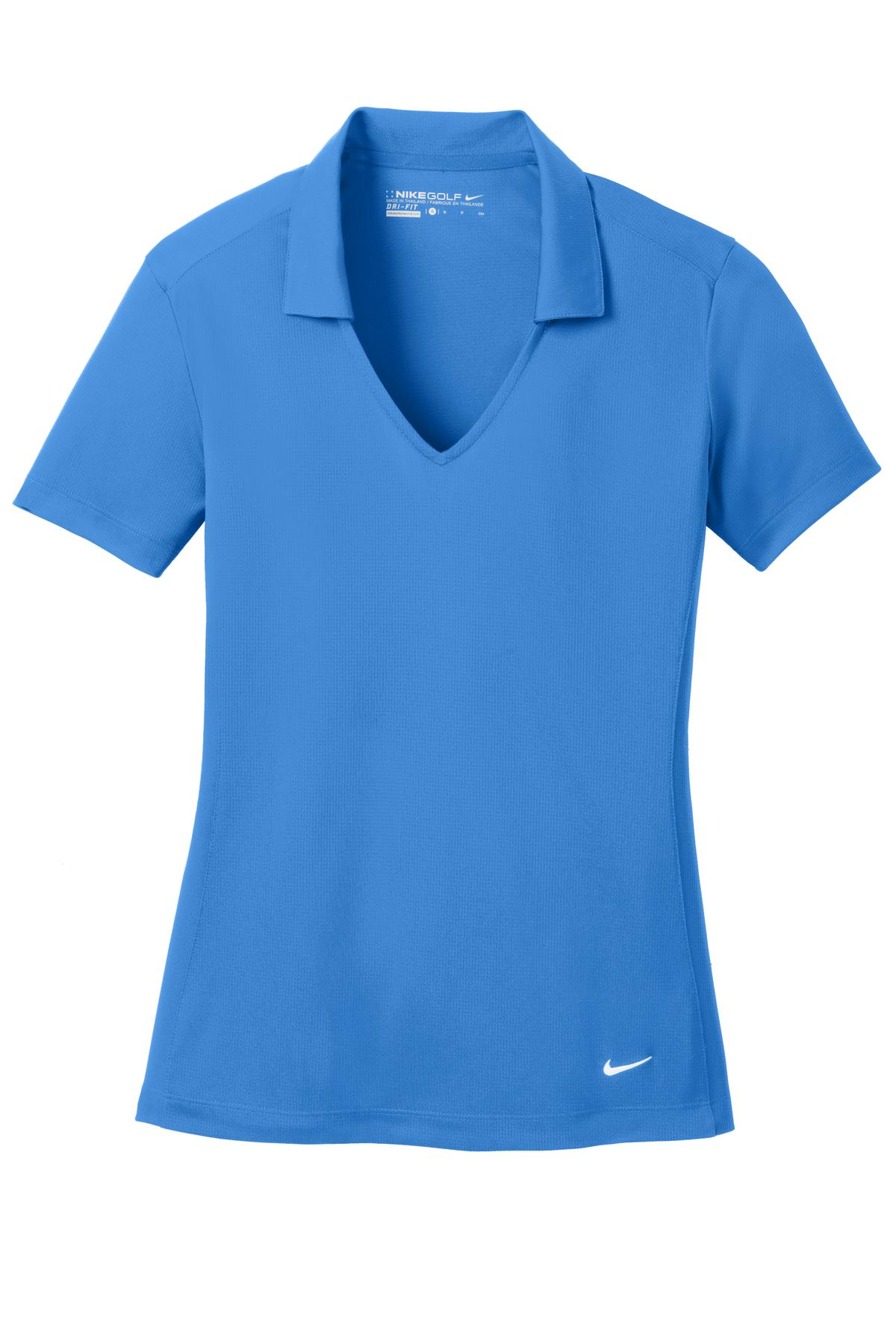 Brisk Blue Nike Ladies Dri-FIT Vertical Mesh Polo.