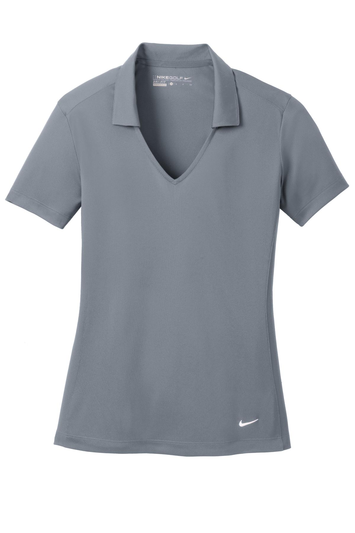 Cool Grey Nike Ladies Dri-FIT Vertical Mesh Polo.