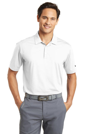 White Nike Dri-FIT Vertical Mesh Polo.