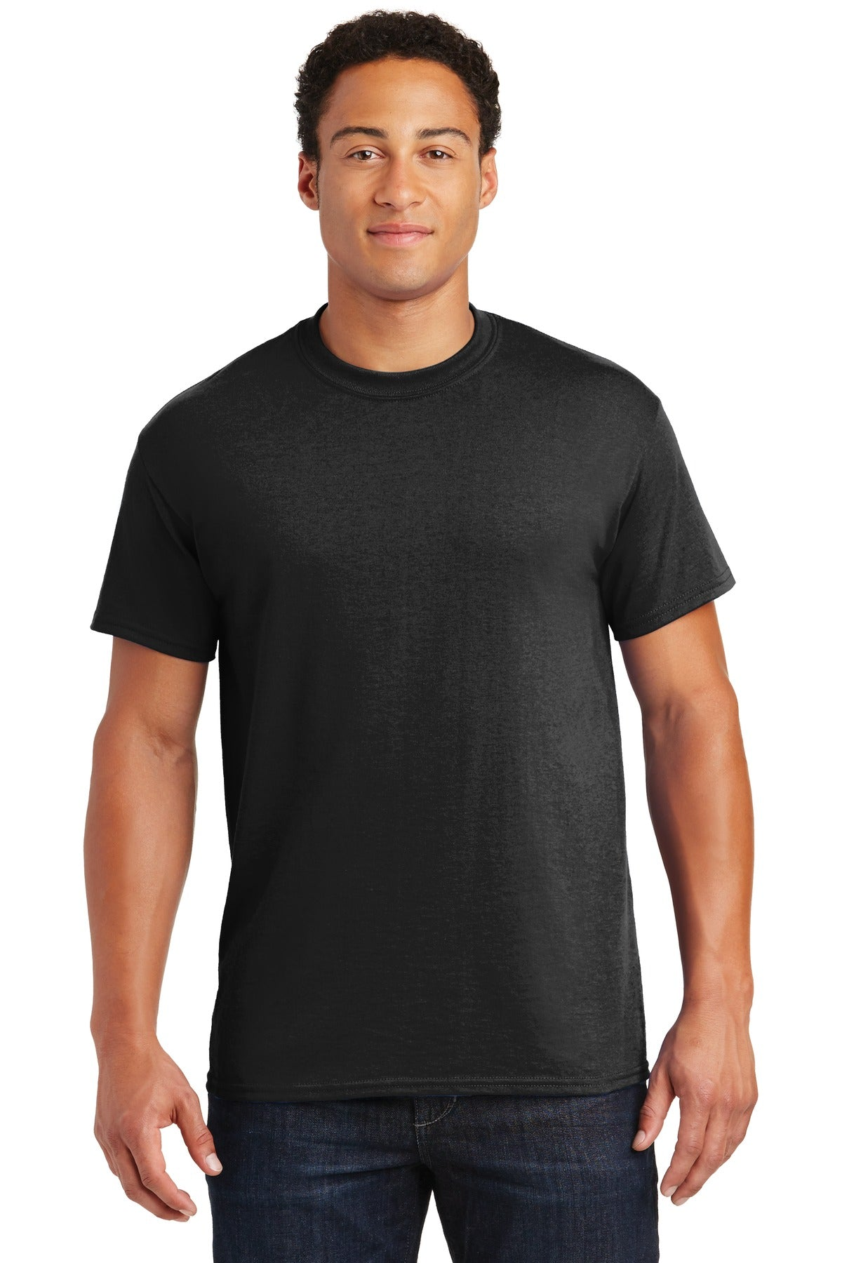 Black Gildan DryBlend 50 Cotton/50 Poly T-Shirt.