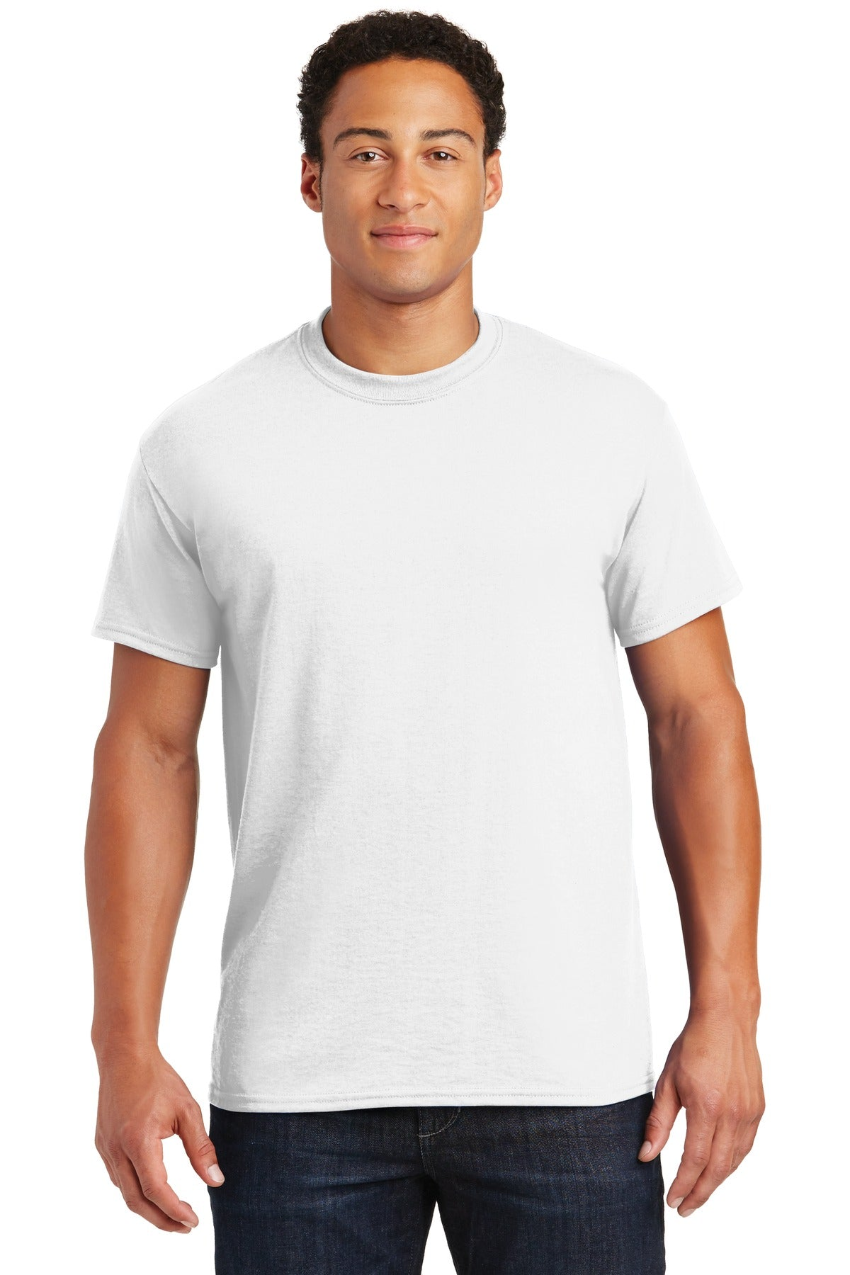 White Gildan DryBlend 50 Cotton/50 Poly T-Shirt.