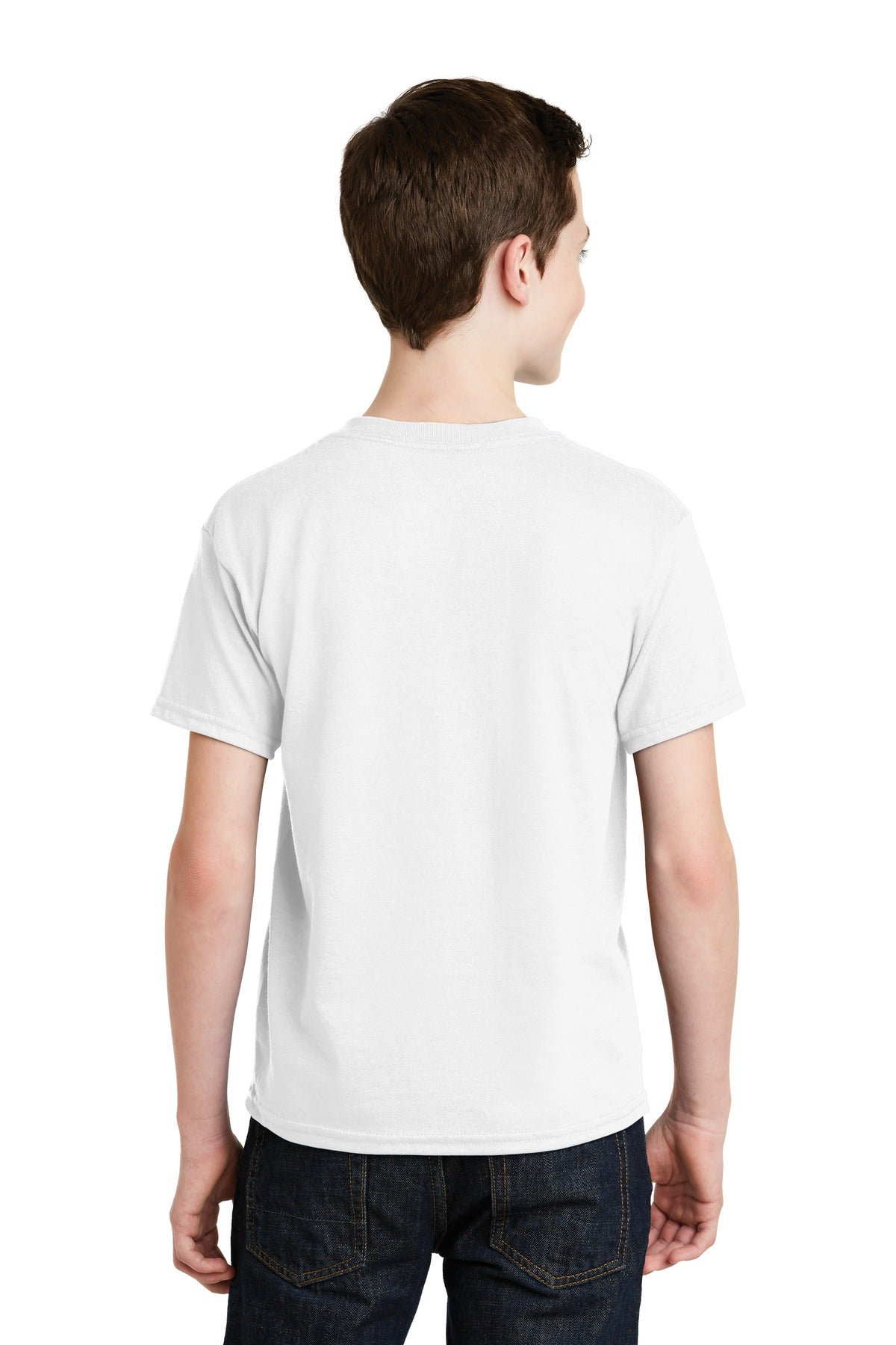 White Gildan Youth DryBlend 50 Cotton/50 Poly T-Shirt.