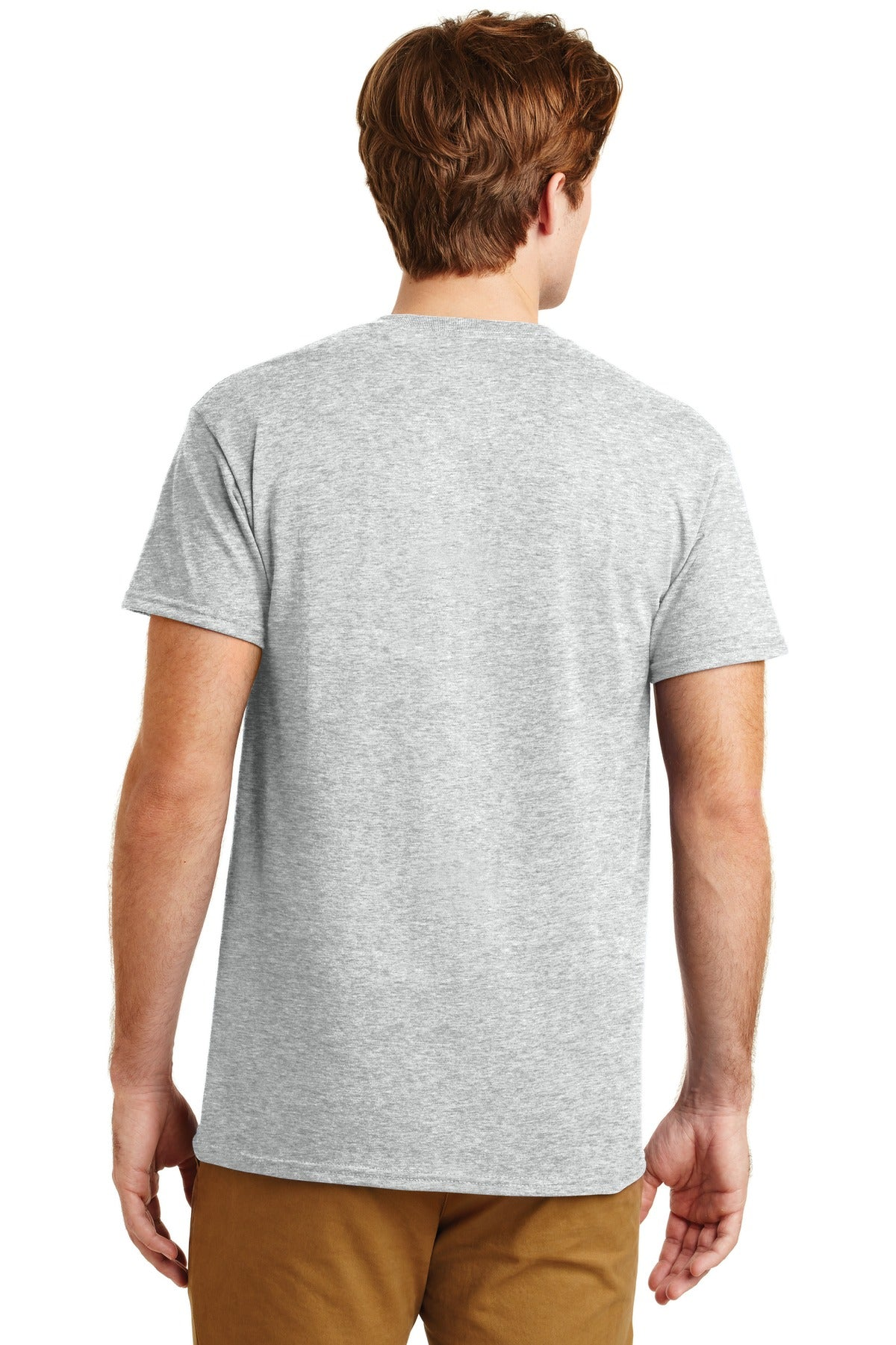 Ash Grey Gildan DryBlend 50 Cotton/50 Poly Pocket T-Shirt.
