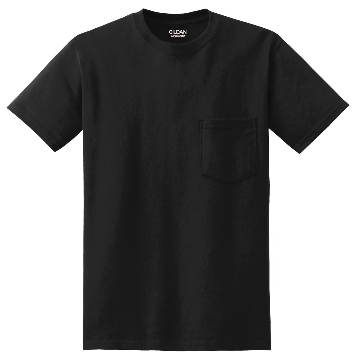 Black Gildan DryBlend 50 Cotton/50 Poly Pocket T-Shirt.