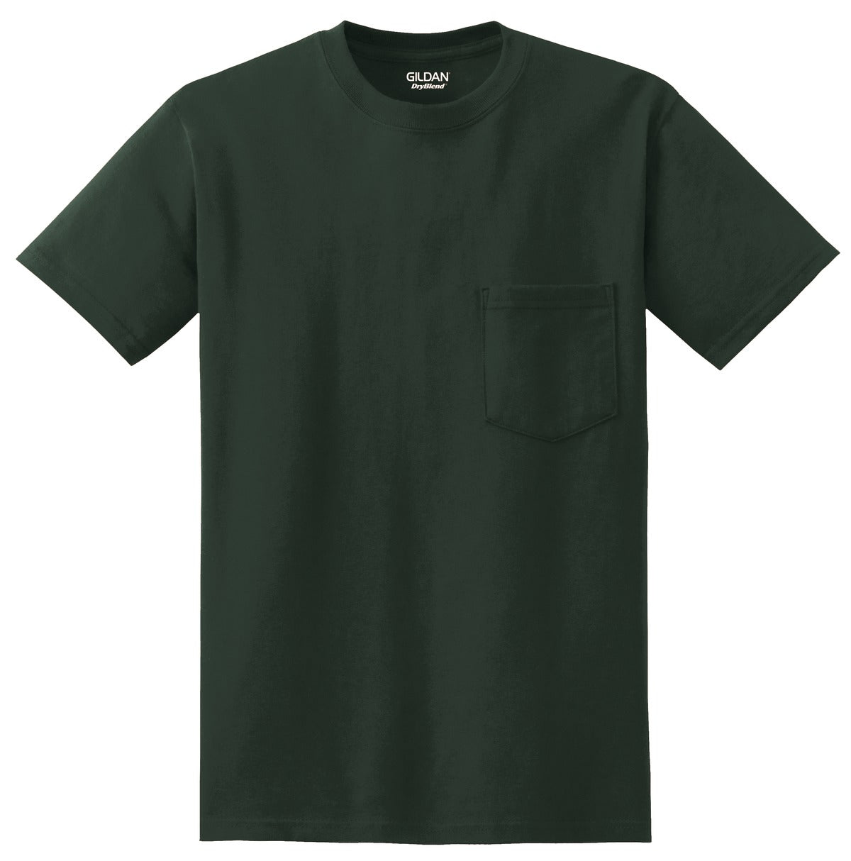 Forest Green Gildan DryBlend 50 Cotton/50 Poly Pocket T-Shirt.