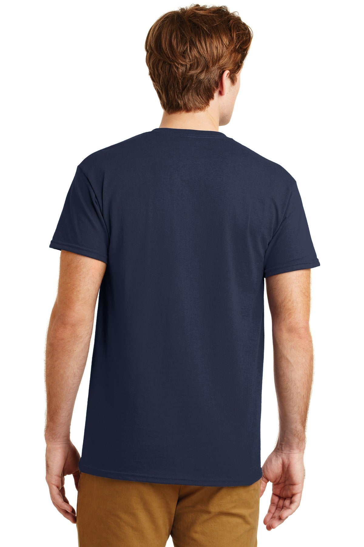 Navy Gildan DryBlend 50 Cotton/50 Poly Pocket T-Shirt.