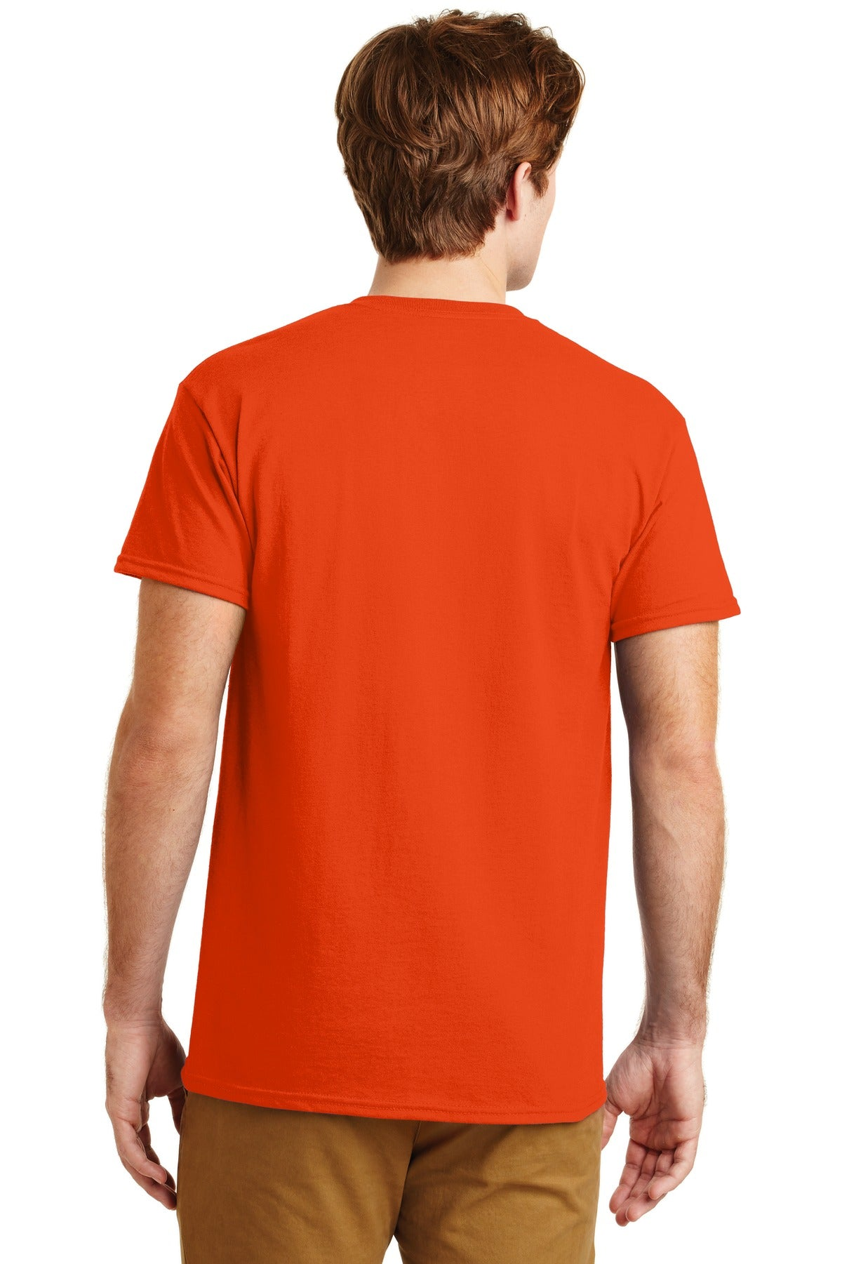 Orange Gildan DryBlend 50 Cotton/50 Poly Pocket T-Shirt.