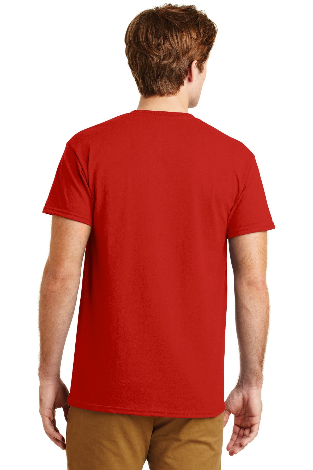 Red Gildan DryBlend 50 Cotton/50 Poly Pocket T-Shirt.