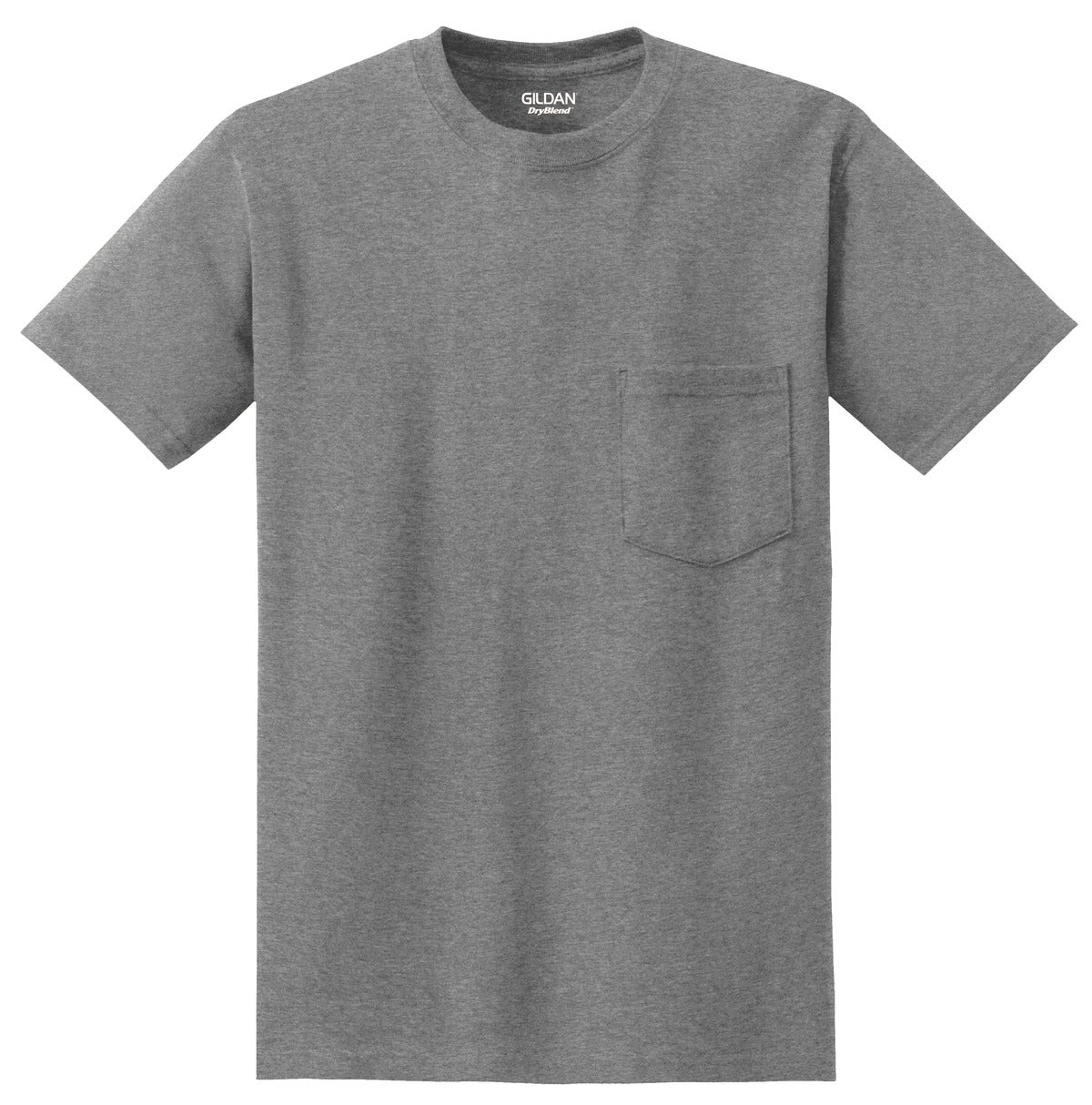 Sport Grey Gildan DryBlend 50 Cotton/50 Poly Pocket T-Shirt.