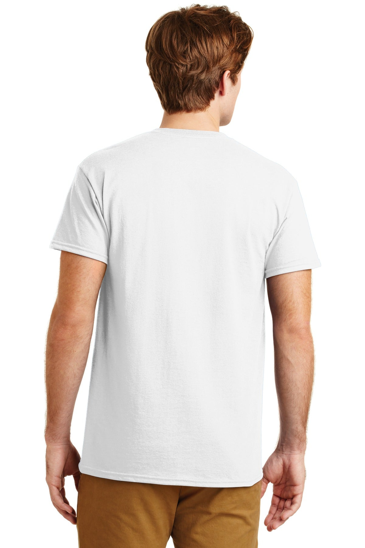 White Gildan DryBlend 50 Cotton/50 Poly Pocket T-Shirt.