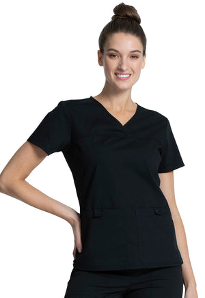 Cherokee Workwear Professionals WW2968 V-Neck Knit Panel Top