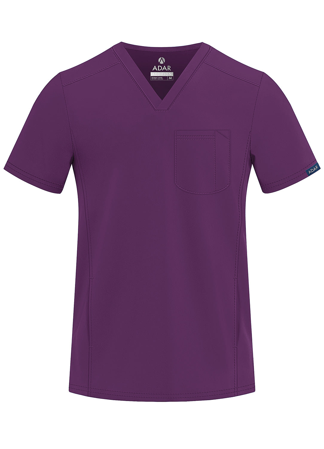 ADAR Addition Men's Modern Multi-pocket V-Neck Scrub Top