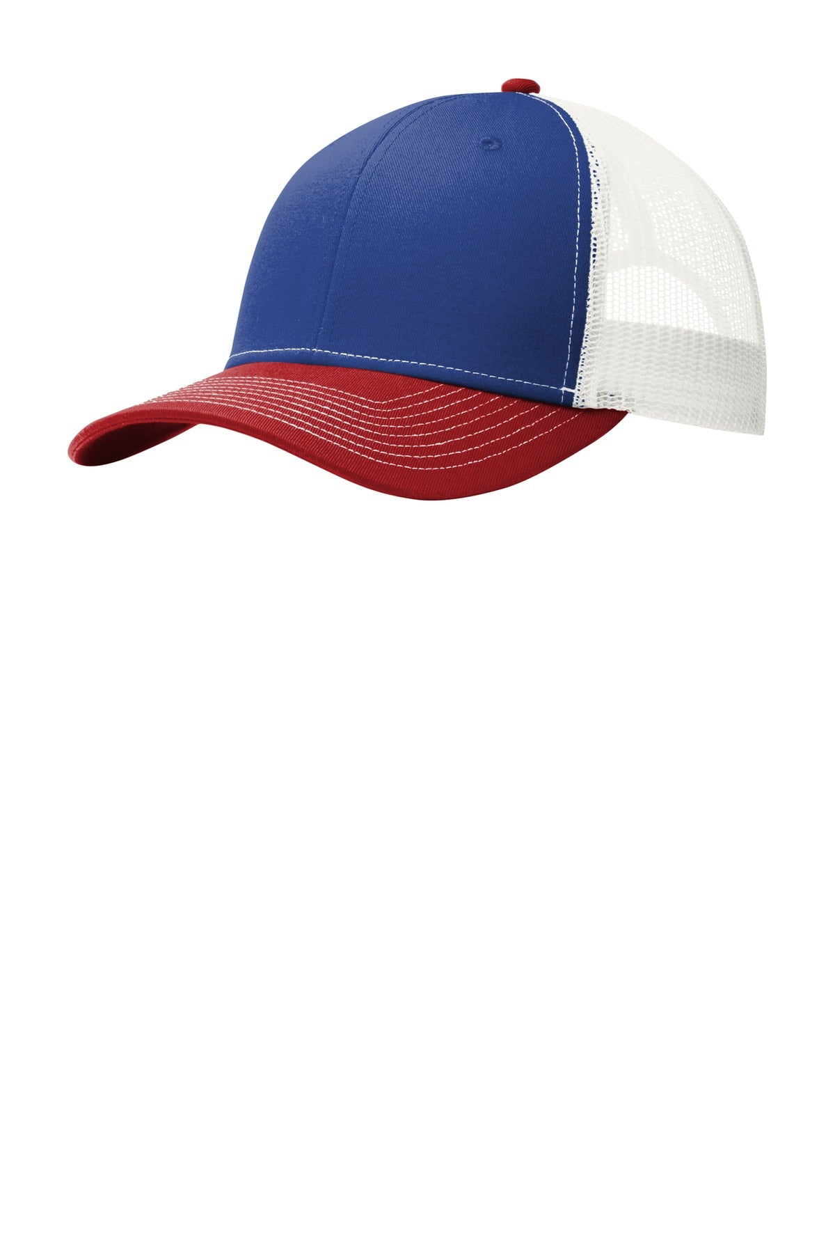 Patriot Blue / Flame Red / White Port Authority Snapback Trucker Cap