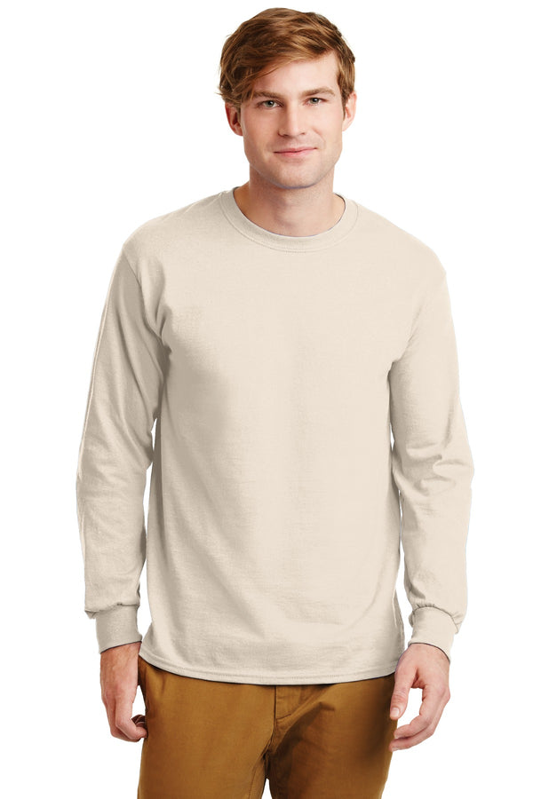 Natural Gildan Ultra Cotton 100% Cotton Long Sleeve T-Shirt.