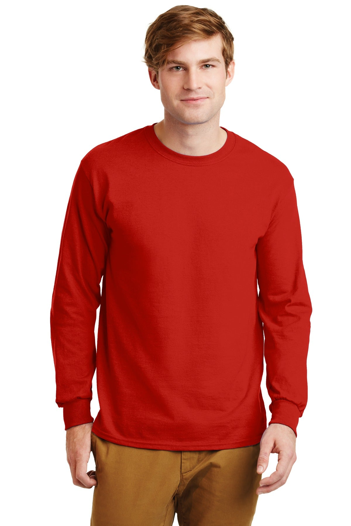 Red Gildan Ultra Cotton 100% Cotton Long Sleeve T-Shirt.