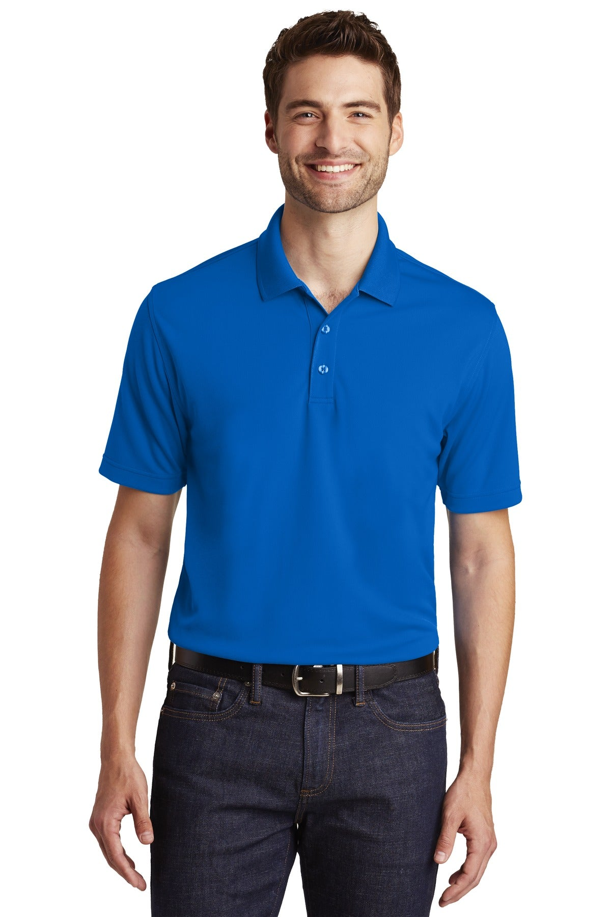 Light Blue Port Authority Heavyweight Cotton Pique Polo.