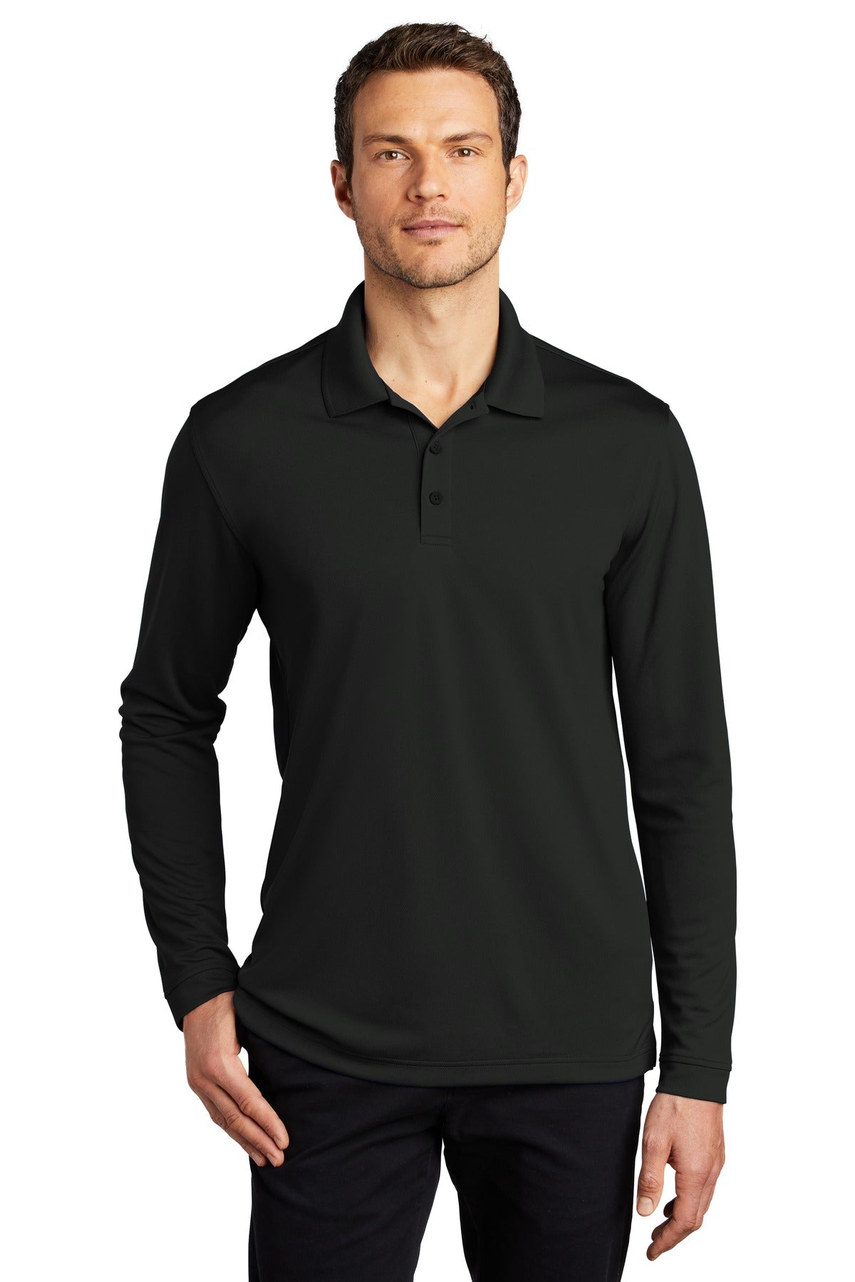 Steel Grey Port Authority Heavyweight Cotton Pique Polo.