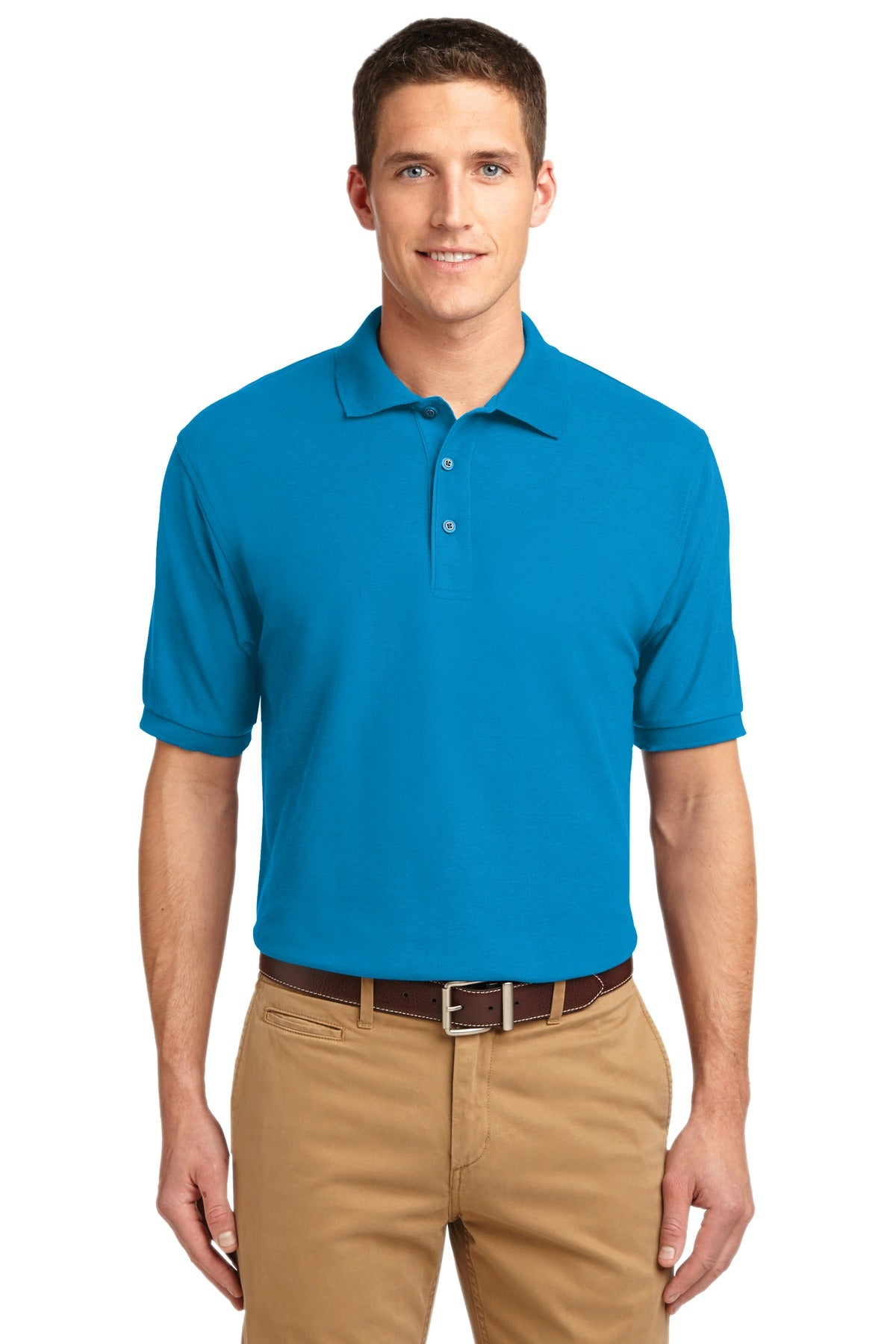 Turquoise Port Authority Extended Size Silk Touch Polo.