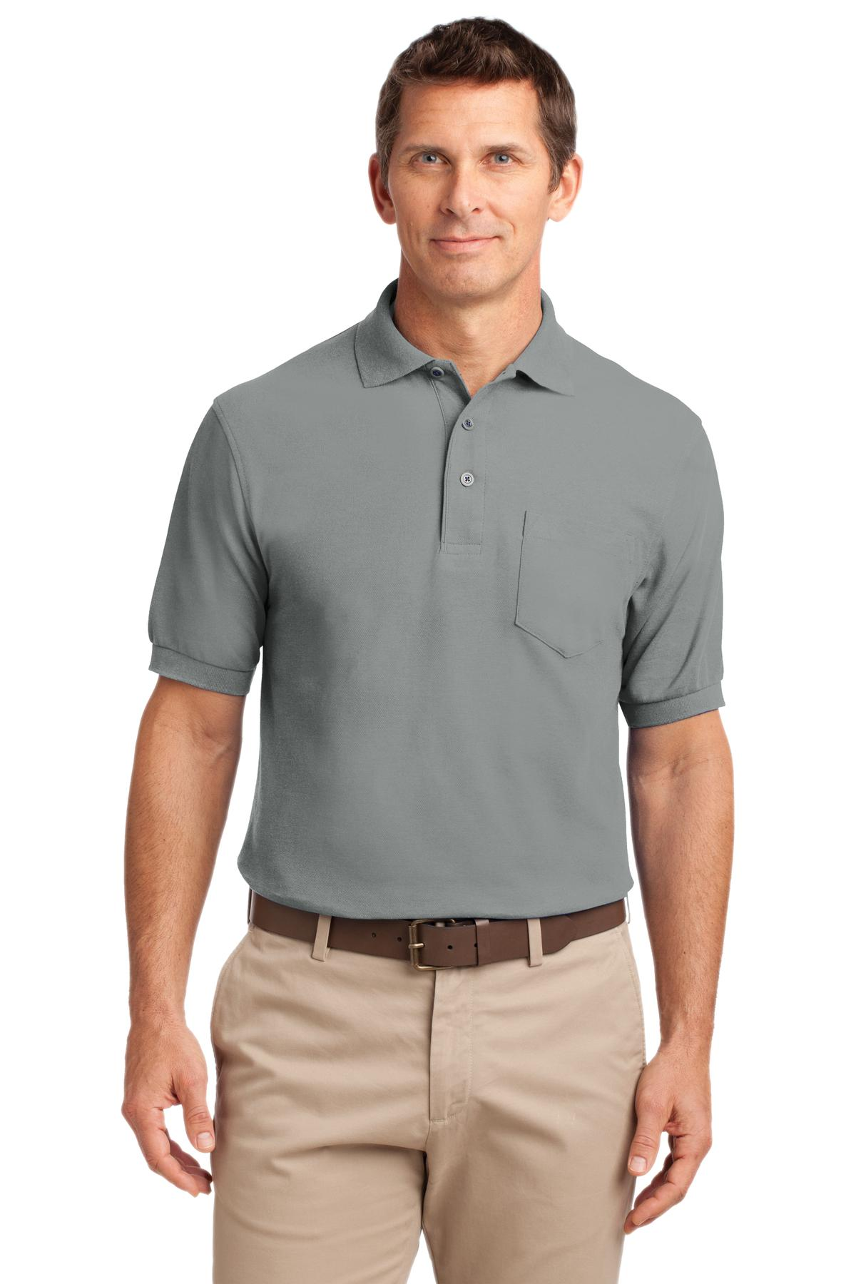 Celadon Blue Port Authority Stain-Release Polo.