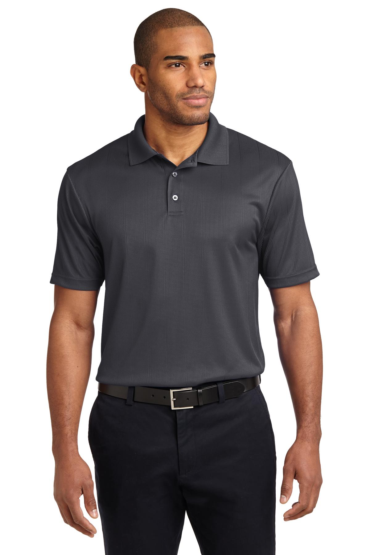 White Port Authority Silk Touch Performance Polo.
