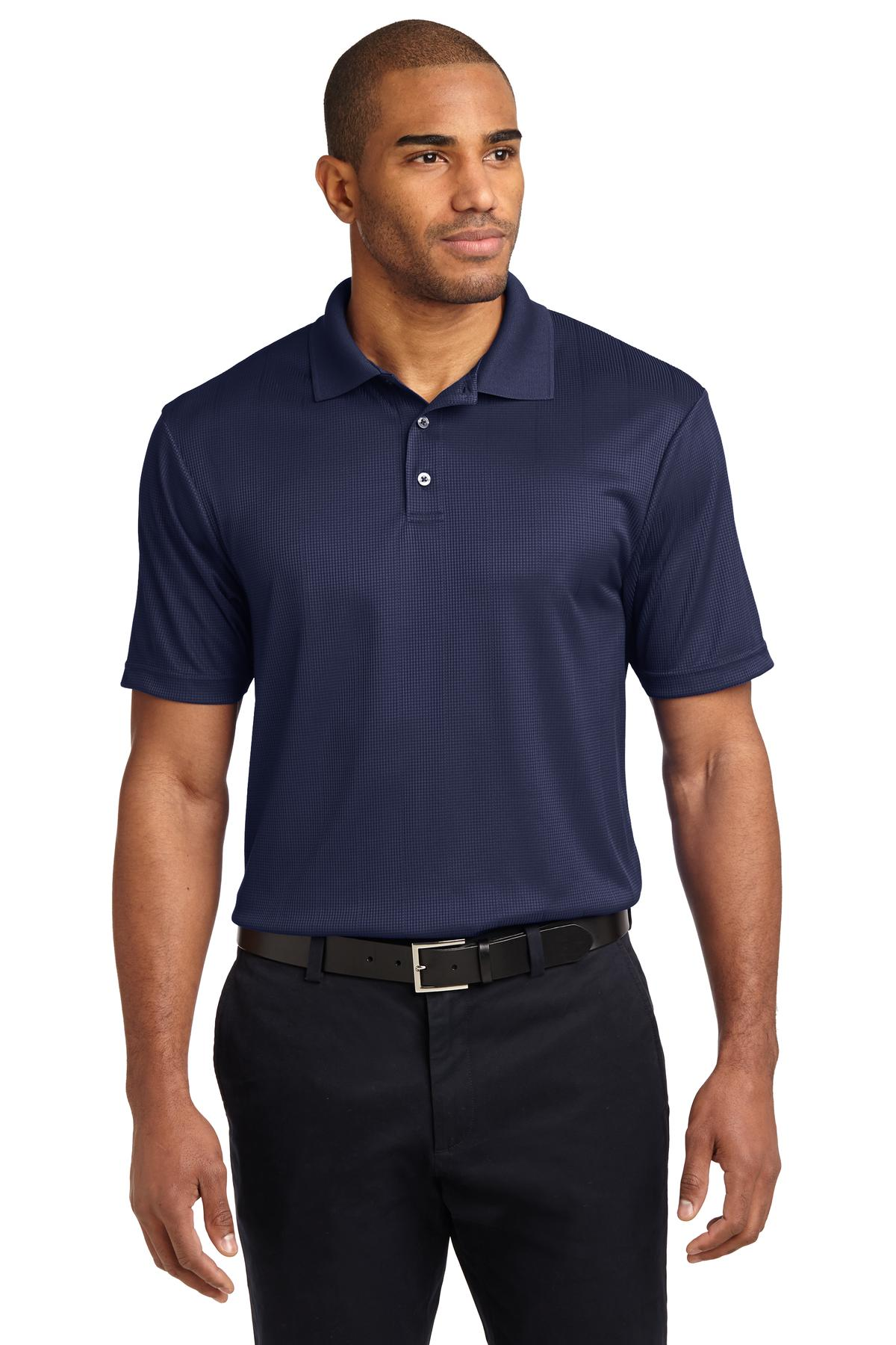 Steel Grey Port Authority Silk Touch Performance Polo.