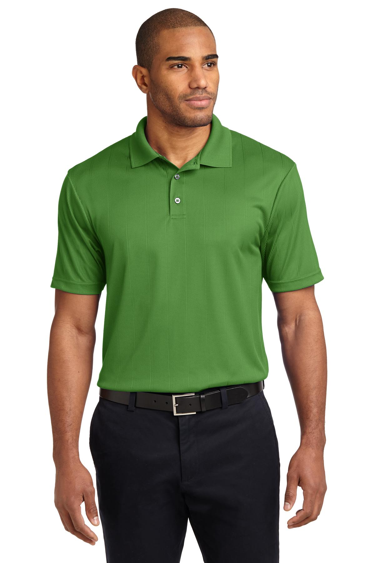 Neon Yellow Port Authority Silk Touch Performance Polo.