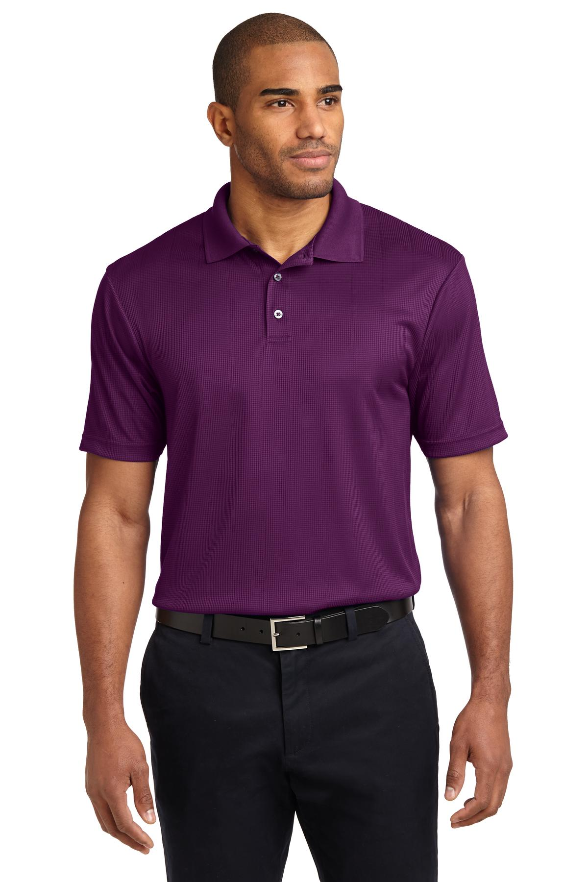 Bright Purple Port Authority Silk Touch Performance Polo.