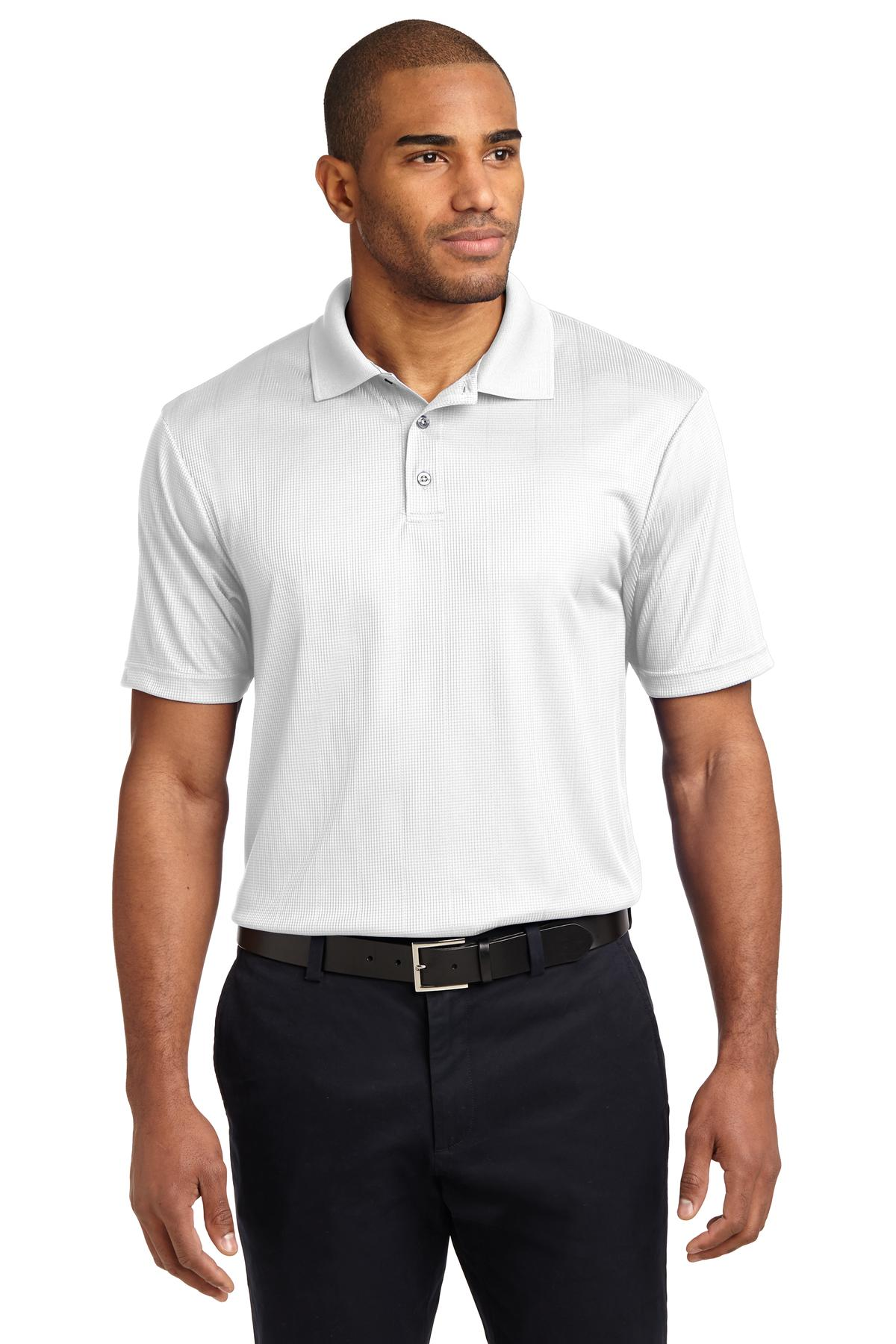 Neon Orange Port Authority Silk Touch Performance Polo.