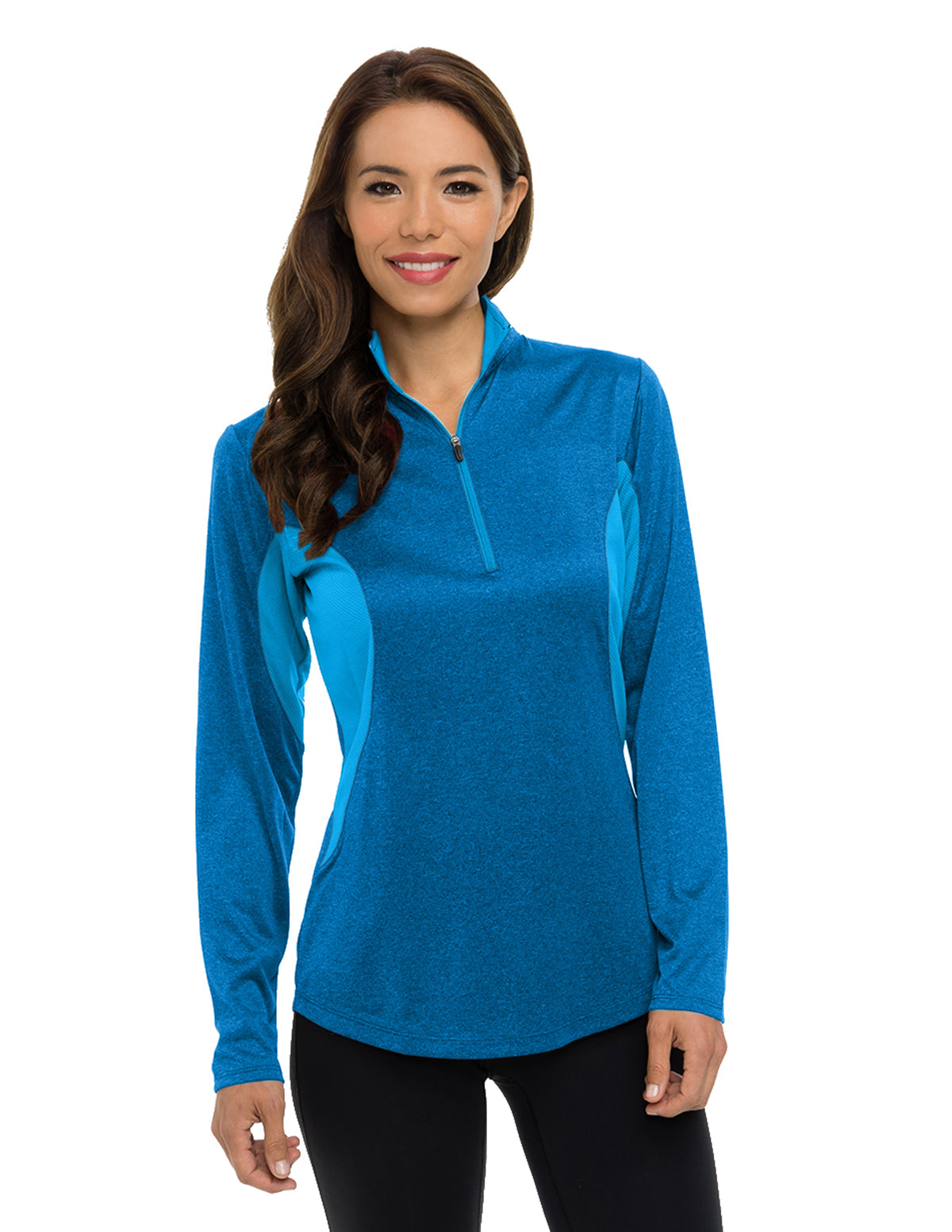 Lady Sprinter-Womens 5 Oz 100% Polyester Heather Jersey Long Sleeve 172-Zip Pullover Ultracool™ Moisture-Wicking