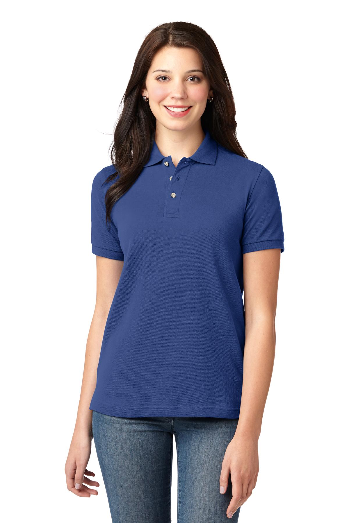 Mediterranean Blue Port Authority Ladies Silk Touch Polo.