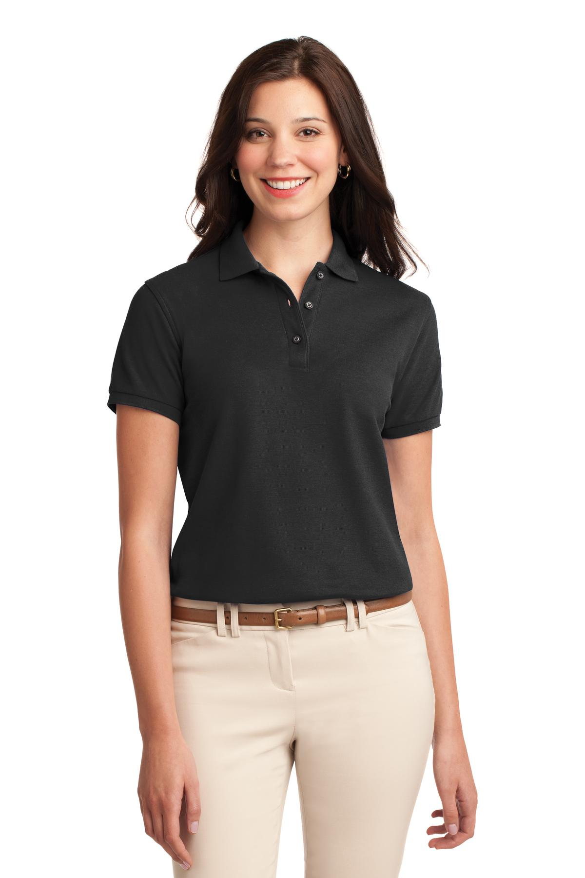 Lime Port Authority Ladies Silk Touch Polo.