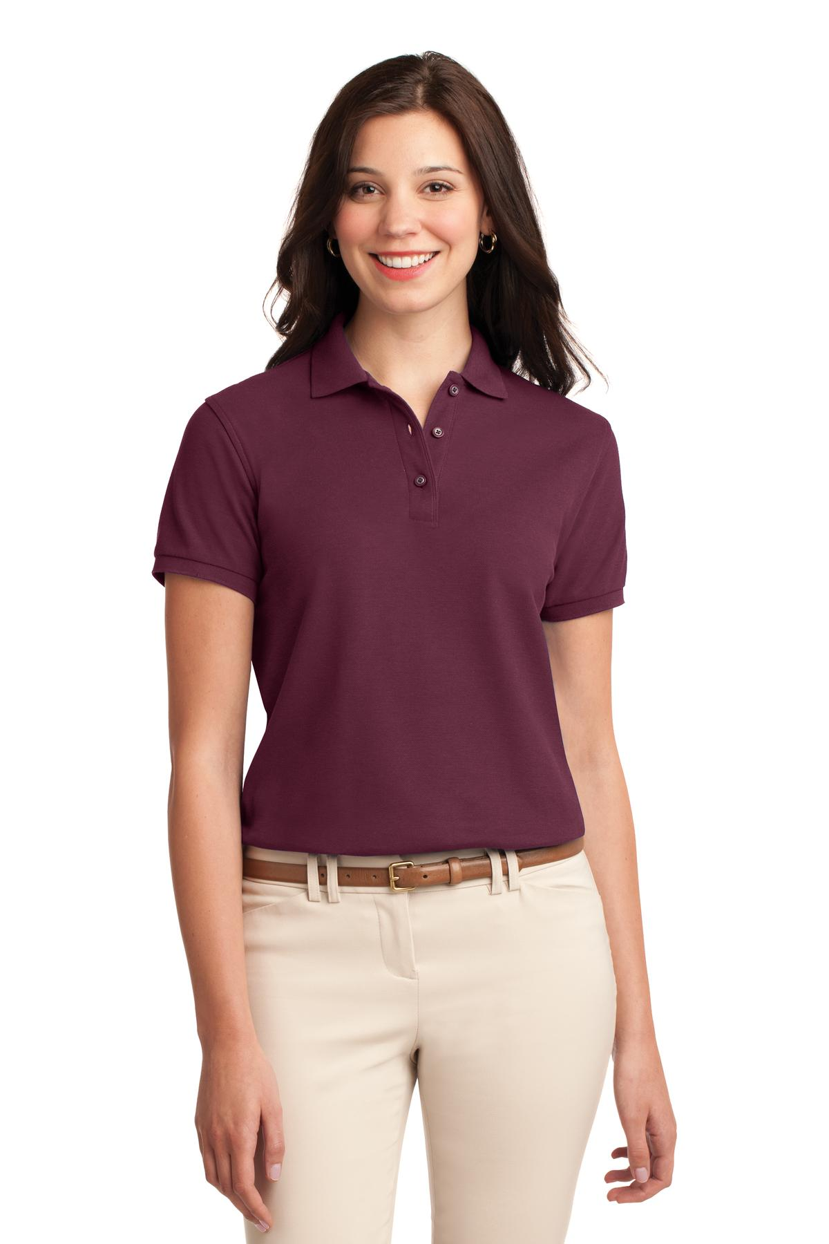 Burgundy Port Authority Ladies Silk Touch Polo.