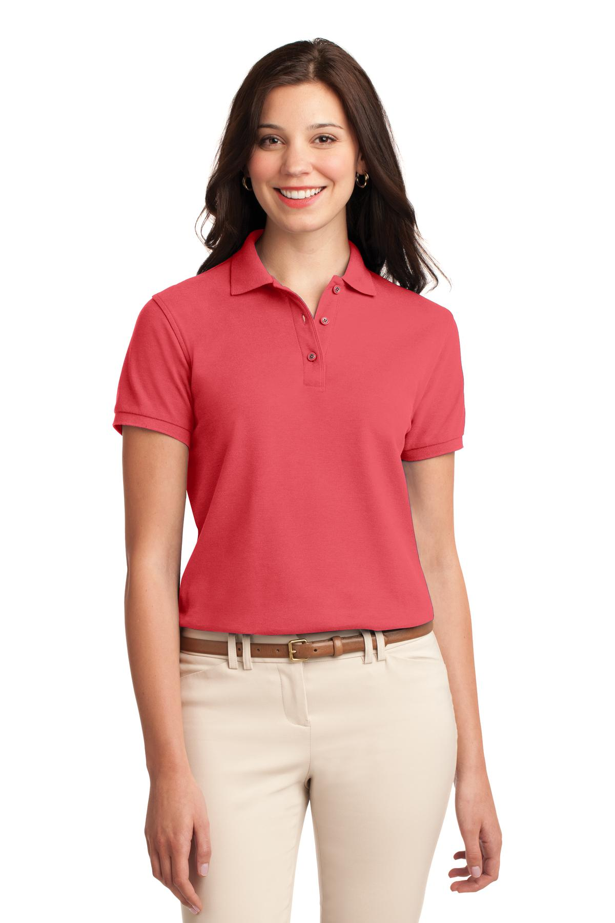 Black Port Authority Ladies Silk Touch Polo.