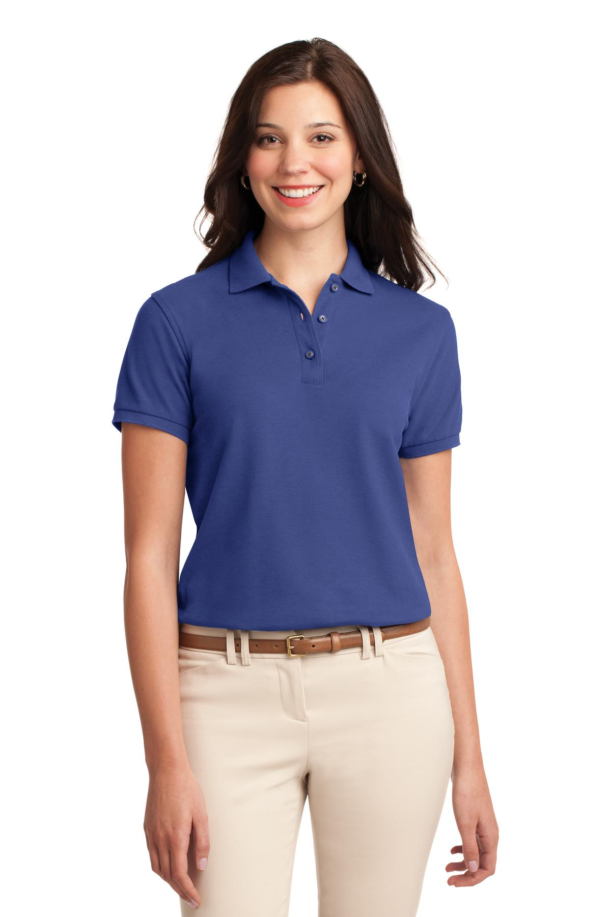 Navy Port Authority Ladies Silk Touch Polo.