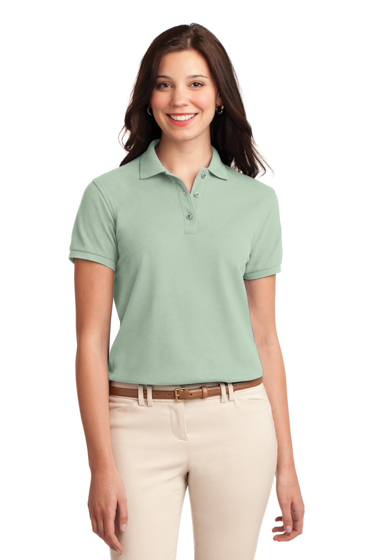Light Pink Port Authority Ladies Silk Touch Polo.