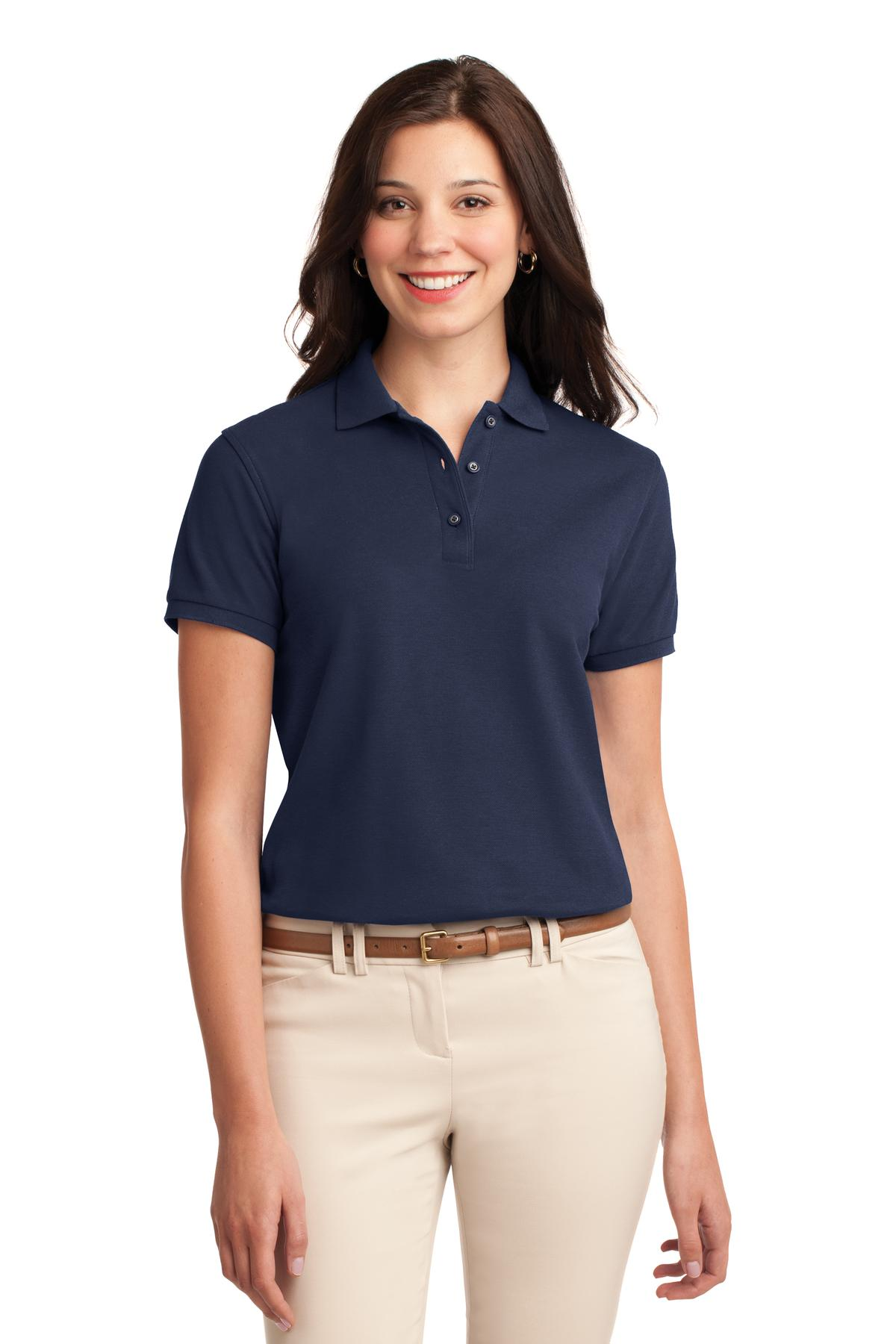 Dark Green Port Authority Ladies Silk Touch Polo.