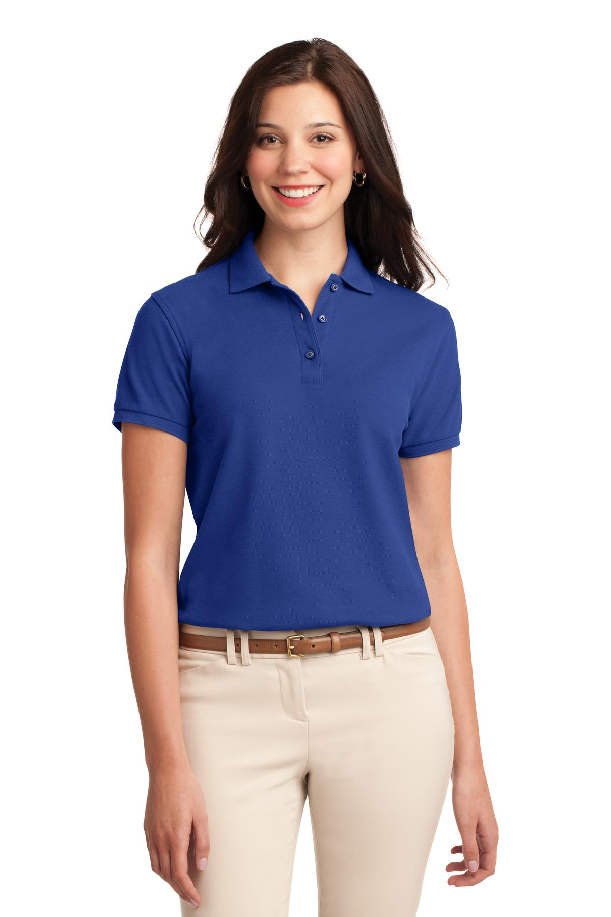 Light Blue Port Authority Ladies Silk Touch Polo.