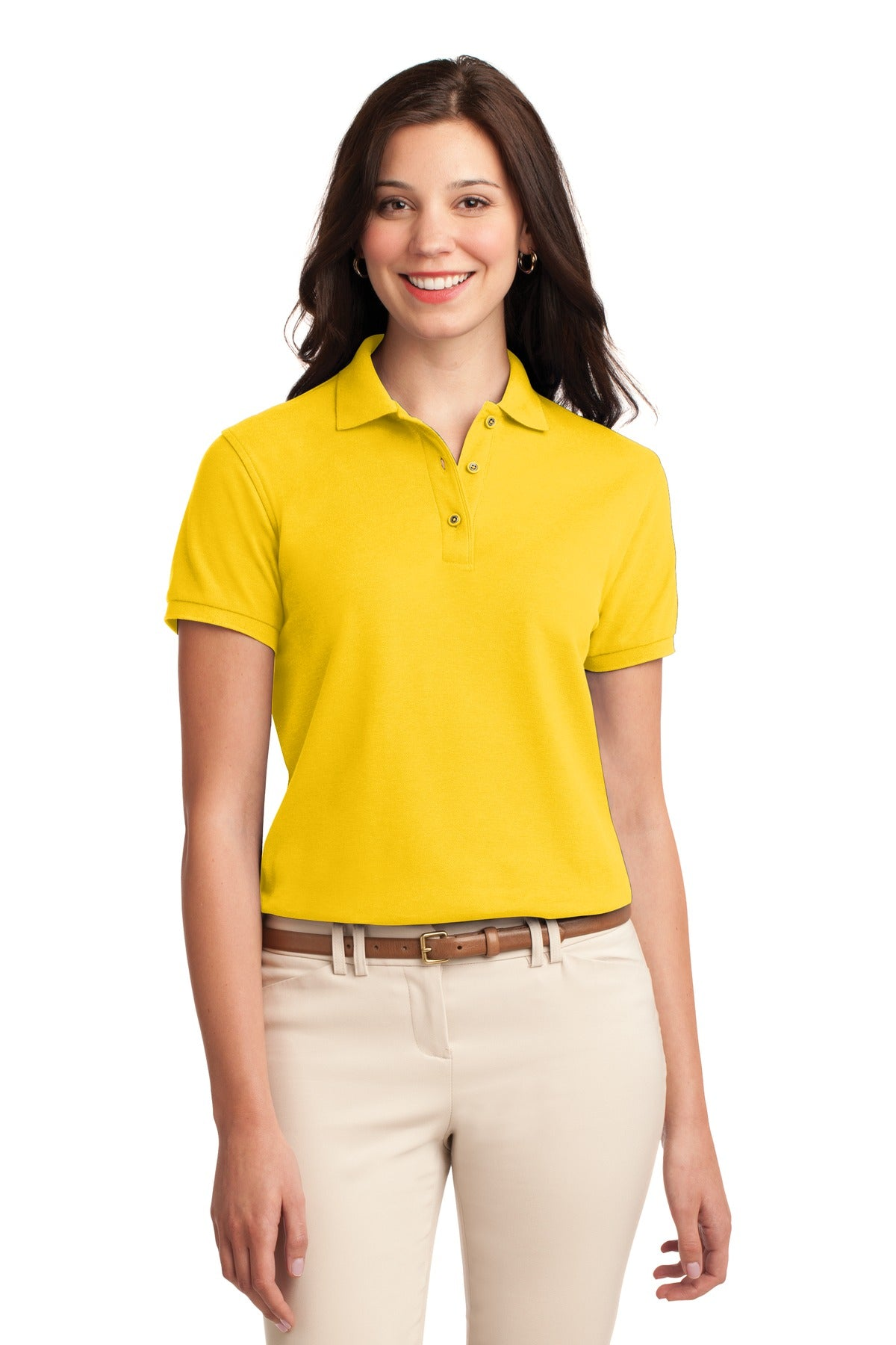 Kelly Green Port Authority Ladies Silk Touch Polo.