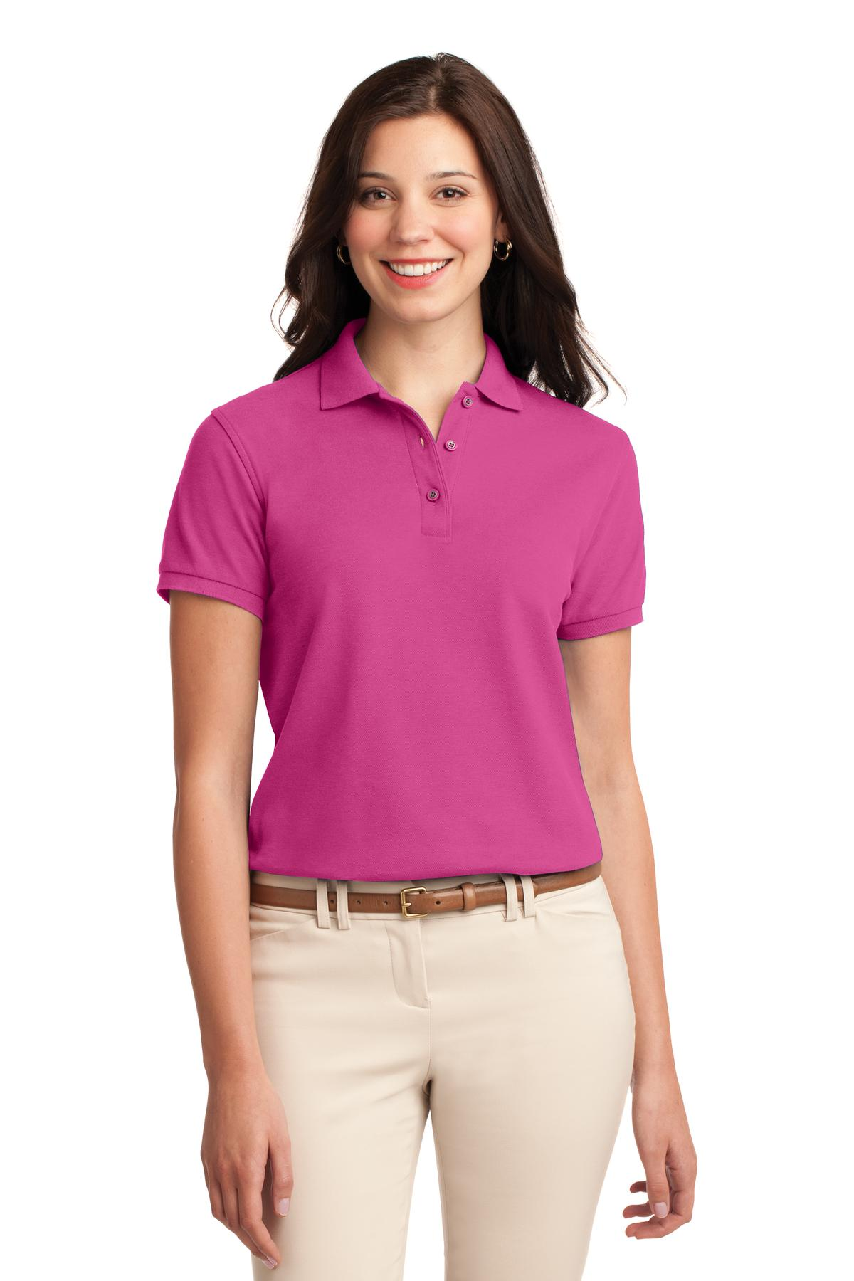 Ultramarine Blue Port Authority Ladies Silk Touch Polo.