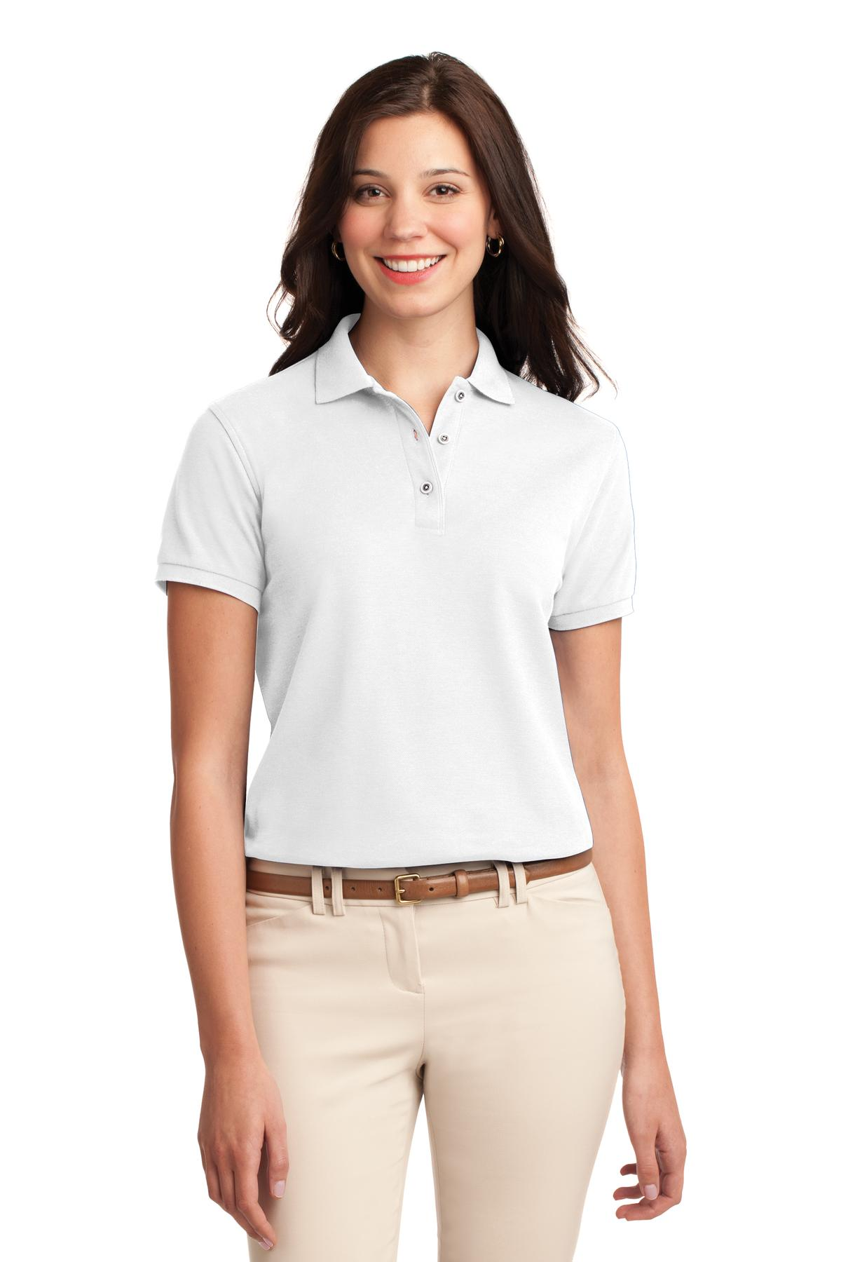 Gold Port Authority Ladies Silk Touch Polo.
