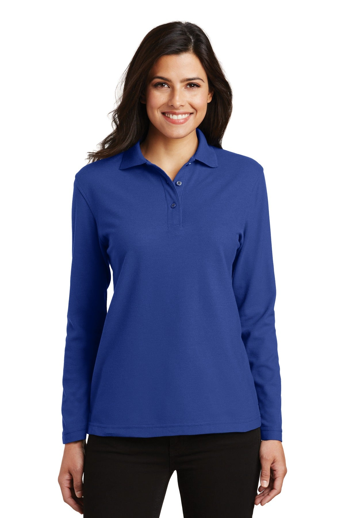 Navy / Light Stone Port Authority Ladies Short Sleeve Easy Care Shirt.